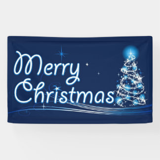 Blue Merry Christmas Banner