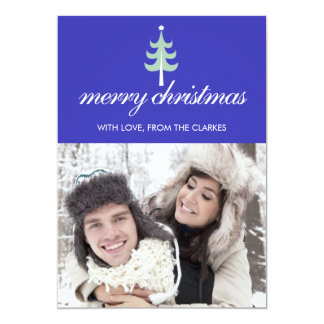 Blue Merry Christmas Photo Flat Cards & Green Tree