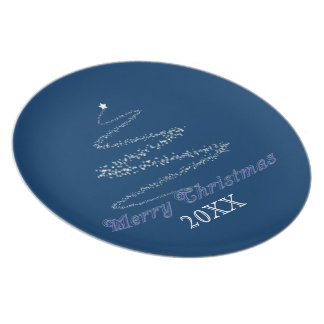 Blue Merry Christmas Plate Template