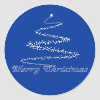 Blue Merry Christmas Seal Classic Round Sticker