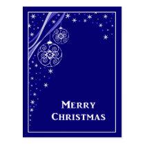 Blue Merry Christmas Stars Ornaments Postcard