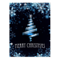 Blue Merry Christmas Tree Snowflakes Background Postcard