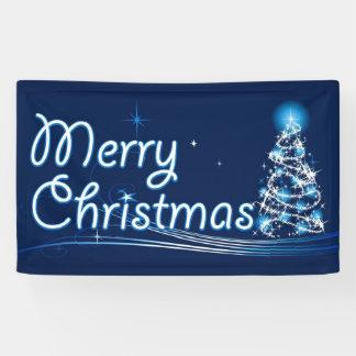 Blue Merry Christmas Banner
