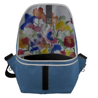 Blue Message Bag with Watercolor Floral Interior