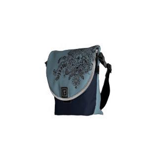Blue Messenger Bag Purse with Henna Design
