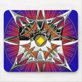 Blue metal abstract mouse pad