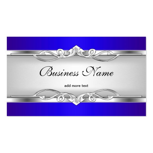 Blue Metal Chrome Look  Elegant White Style Silver Business Card Template