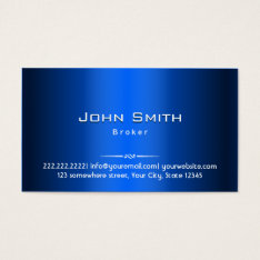 Blue Metal Real Estate Broker Business Card at Zazzle