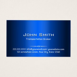 Blue Metal Transportation Broker Business Card