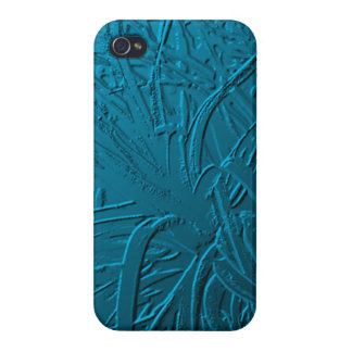 Blue Metallic Air Plant Relief iPhone 4 Covers