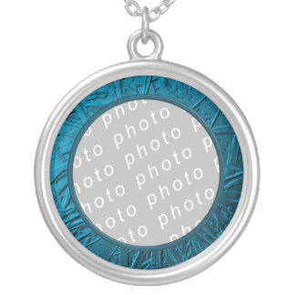 Blue Metallic Air Plant Relief Silver Plated Necklace