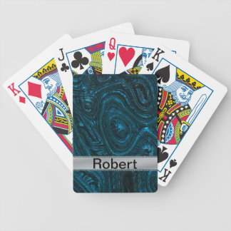 Blue Metallic Alien Flesh With Brushed Metal Deck Of Cards