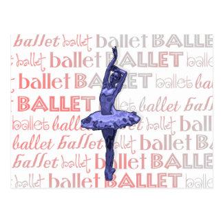 Blue Metallic Ballerina Postcard