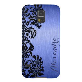Blue Metallic Brushed Aluminum & Floral Damasks Case For Galaxy S5