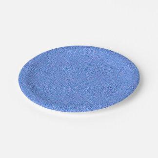 blue metallic bubbles paper plate