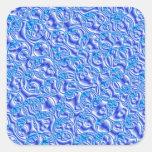 blue metallic bubbles square sticker