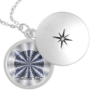 Blue Metallic Celtic Knot Original Art Round Locket Necklace