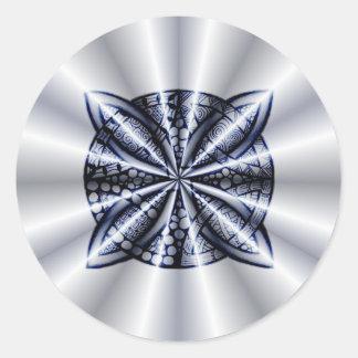 Blue Metallic Celtic Knot Original Art Round Stickers