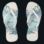 "Blue Metallic Floral &amp; Confetti Glitter | Wedding Flip Flops<br><div class=""desc"">Bridal Party Flip Flop Shoes. DIY Text. ⭐This Product is 100% Customizable. Graphics and text can be deleted, moved, resized, changed around, rotated, etc... 99% of my designs in my store are done in layers. This makes it easy for you to resize and move the graphics and text around so...</div>"