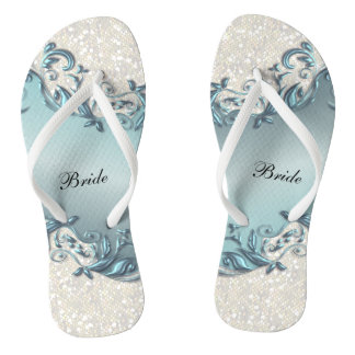 Blue Metallic Floral & Confetti Glitter | Wedding Flip Flops