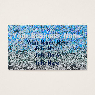 Blue Metallic Fluorescent Flowers Business Card
