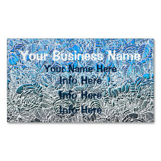 Blue Metallic Fluorescent Flowers Business Card Magnet