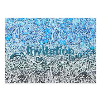 Blue Metallic Fluorescent Flowers Card