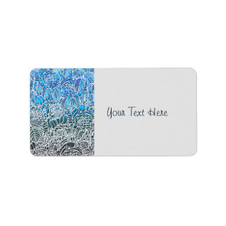 Blue Metallic Fluorescent Flowers Label