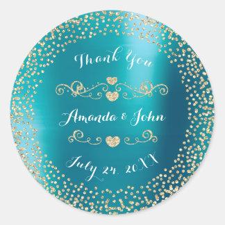 Blue Metallic Glitter Save the Date Thank You Classic Round Sticker