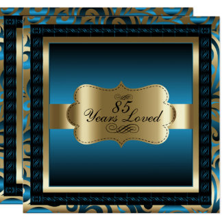 Blue Metallic & Gold - 85th Birthday Party Card