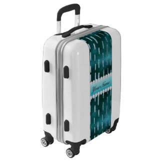 Blue Metallic Look Paint Strokes on Teal Luggage