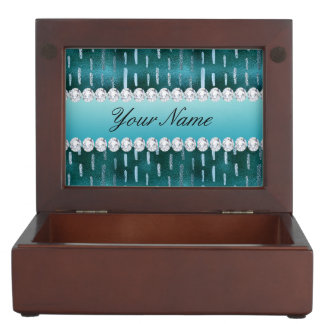 Blue Metallic Look Paint Strokes on Teal Memory Box