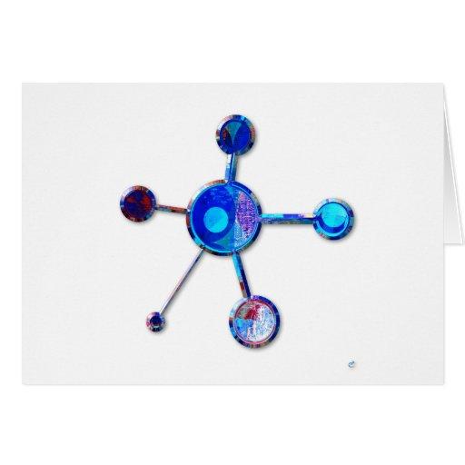Blue Metallic Molecule Card
