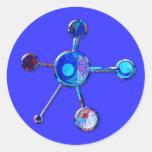 Blue Metallic Molecule Round Sticker