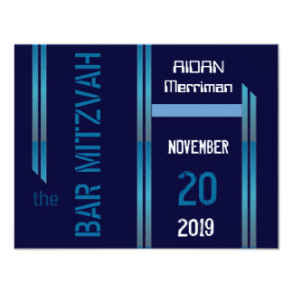 Blue metallic stripes Bar Mitzvah 4.25x5.5 Paper Invitation Card
