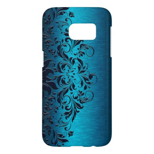 Blue Metallic texture And Midnight Blue Lace Phone Case
