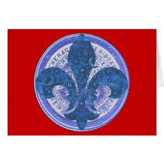 Blue Meter Lid with Fleur De Lis Card