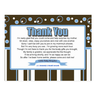 Blue Metro Baby Shower Thank You Postcard