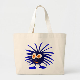 Blue mHairy monster Large Tote Bag