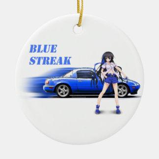 Blue Miata - with anime girl Ceramic Ornament