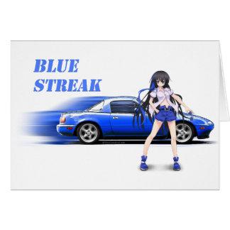 Blue Miata - with anime girl Greeting Card
