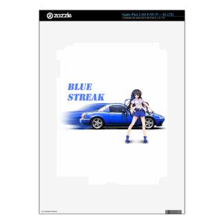 Blue Miata - with anime girl iPad 3 Skins
