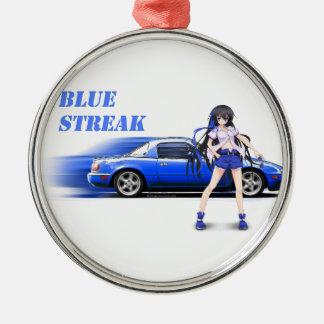 Blue Miata - with anime girl Metal Ornament