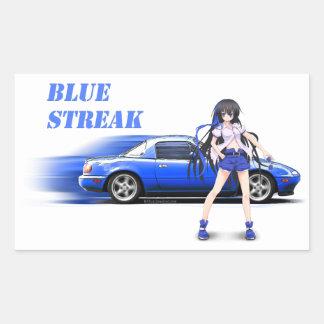 Blue Miata - with anime girl Rectangular Sticker