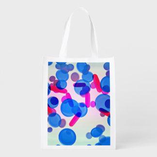 Blue Microbiology Pattern Design Reusable Grocery Bag