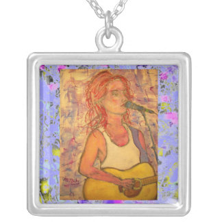 blue microphone songstress drip silver plated necklace