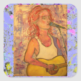 blue microphone songstress drip square sticker
