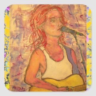 blue microphone songstress drip up close square sticker