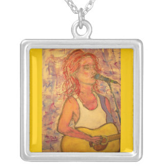 blue microphone songstress(guitar color) silver plated necklace