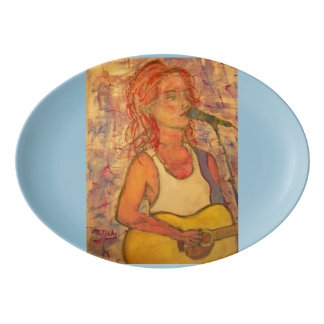 blue microphone songstress porcelain serving platter